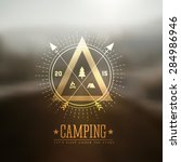 camping vector labels with... | Shutterstock .eps vector #284986946