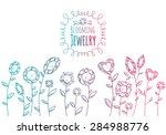 jewels gemstones flowers hand... | Shutterstock .eps vector #284988776