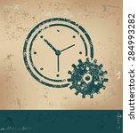 clock design on old paper... | Shutterstock .eps vector #284993282
