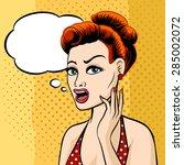 woman face with speech bubble...   Shutterstock .eps vector #285002072