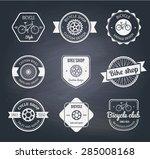set of  bicycle shop logo... | Shutterstock .eps vector #285008168