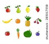 pixel art style fruits ... | Shutterstock .eps vector #285017558