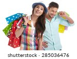 couple with shopping bags.... | Shutterstock . vector #285036476