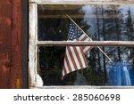 American Flag In Cabin Window