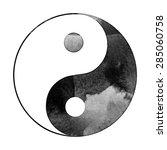 watercolor yin yang symbol  ... | Shutterstock .eps vector #285060758