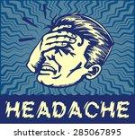 retro dizzy man suffering from...   Shutterstock .eps vector #285067895