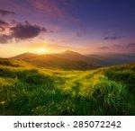 mountain valley during sunrise. ... | Shutterstock . vector #285072242