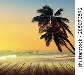 tropic beach design background. ... | Shutterstock . vector #285073592