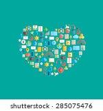 heart social network with media ... | Shutterstock .eps vector #285075476