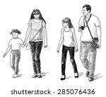 family on a stroll | Shutterstock . vector #285076436