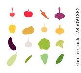 vegetables silhouette icons set.... | Shutterstock .eps vector #285091382