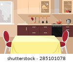 vector kitchen flat illustration | Shutterstock .eps vector #285101078