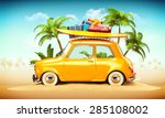 funny retro car with surfboard... | Shutterstock . vector #285108002