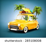 funny retro car with surfboard  ... | Shutterstock . vector #285108008
