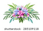 floral bouquet. watercolor hand ... | Shutterstock .eps vector #285109118
