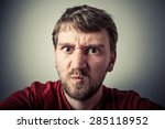 rage. angry young man. tense... | Shutterstock . vector #285118952