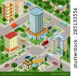 city block streets transport... | Shutterstock .eps vector #285133556