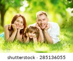 happy joyful young family... | Shutterstock . vector #285136055