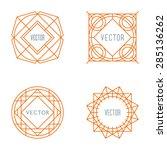 set of line art geometric... | Shutterstock .eps vector #285136262