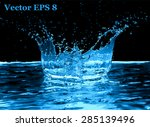 blue water splash  vector... | Shutterstock .eps vector #285139496