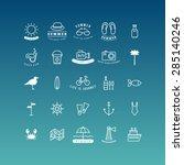 summer holidays vector icon set.... | Shutterstock .eps vector #285140246