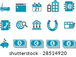 Vector icons pack - Blue Series, business collection - stock vector