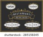 set of elegant restaurant badge ... | Shutterstock .eps vector #285158345