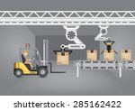 forklift working with robot... | Shutterstock .eps vector #285162422