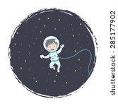 little astronaut floating | Shutterstock .eps vector #285177902