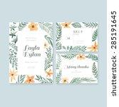 unique gentle vector wedding... | Shutterstock .eps vector #285191645