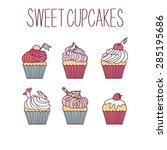 vector hand drawn sweet cupcakes | Shutterstock .eps vector #285195686