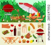 summer picnic in meadow with... | Shutterstock .eps vector #285197552