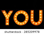 you word with glowing light bulb | Shutterstock . vector #285209978