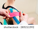 kinesiotaping. physical...   Shutterstock . vector #285211592