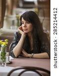 brunette beautiful stylish... | Shutterstock . vector #285214412