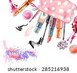 watercolor  cosmetics... | Shutterstock .eps vector #285216938