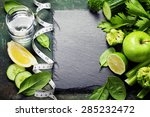 fresh green vegetables on... | Shutterstock . vector #285232472