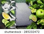 fresh green vegetables on...   Shutterstock . vector #285232472