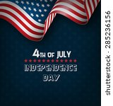 wavy usa national flag on blue... | Shutterstock .eps vector #285236156