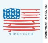 surf america flag typography  t ... | Shutterstock .eps vector #285237782