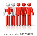flag of tonga on stick figure   ... | Shutterstock . vector #285238292