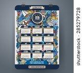 doodles marine calendar 2016... | Shutterstock .eps vector #285279728