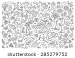 summer beach hand drawn vector... | Shutterstock .eps vector #285279752