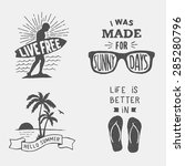 set of summer hand drawn... | Shutterstock .eps vector #285280796