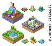 city landscape in isometry  3d... | Shutterstock .eps vector #285282182