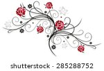 Stock vector tendril with red roses colorful summer flowers 285288752