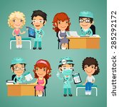 set of vector women having... | Shutterstock .eps vector #285292172