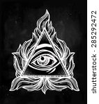 all seeing eye pyramid symbol.... | Shutterstock .eps vector #285292472