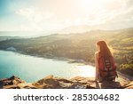 young tourist woman is sitting... | Shutterstock . vector #285304682