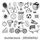 hand drawn doodle sport... | Shutterstock .eps vector #285306962